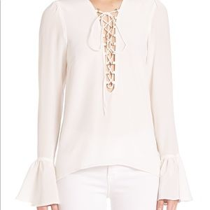 Stone Cold Fox Lace Up Blouse in White Silk